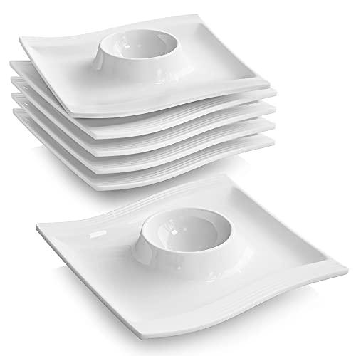 MALACASA, Serie Flora, 6 teilig Cremeweiß Porzellan Eierständer Set je 4,5 Zoll / 11,5x11,5x2cm Eierbecher Eierhalter