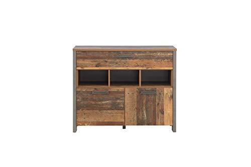 Wohnorama Sideboard 2-TRG 1 Schubkästen Clif von Forte Old-Wood Vintage/Beton by