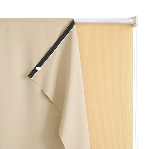 RYB HOME Outdoor Roll up Blackout Curtain for Porch, Match with Outdoor Roller Shades Screen for Sunlight Block for Gazebo Exterior Space, W 4 ft x L 6 ft, Cream Beige