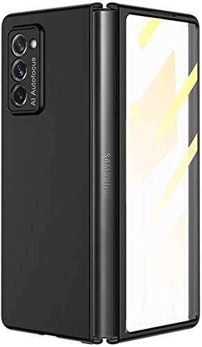 XJZ Kompatibel mit Samsung Galaxy Z Fold 2-5G Smartphone Hülle(Schwarz)+3D Panzerglas/Handyhülle 360 Grad Vollschutz Hülle Ultra Dünne Bumper Stoßfeste TPU Rahmen Schutzhülle mit Ständer-2020