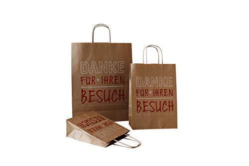 PGV papierowe torebki ze sznurkiem, dziękujemy za wizytę (22 + 10 x 31 cm, 50 sztuk)