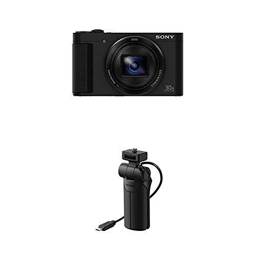 Sony DSC-HX90 Kompaktkamera (30x opt. Zoom, 60x Klarbild-Zoom, 7,5 cm (3 Zoll) Display, 5-Achsen Bildstabilisator, Full HD Video) schwarz und Handgriff