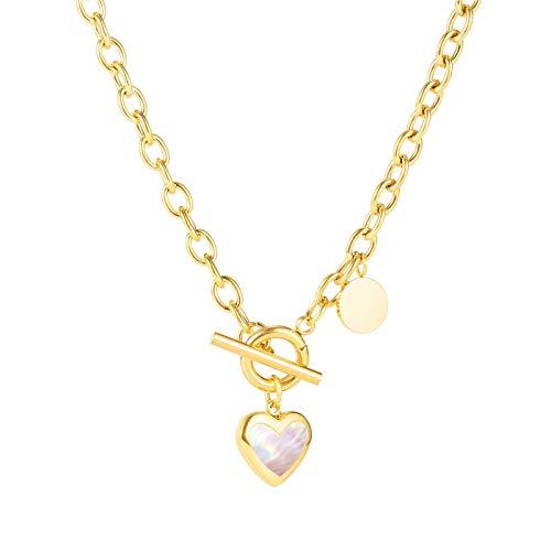 NAIKLY Colgante de corazón Chapado en Oro  Collares en Capas  Collares de Oro para Mujer  Collar de Amor de Acero Inoxidable de Las señoras, Colgante del Collar del corazón de Las Mujeres, 18'