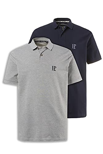 JP 1880 Herren große Größen Übergrößen Menswear L-8XL bis 7XL, Poloshirts, 2er-Pack, Piqué, Seitenschlitze, Regular Fit, grau, Navy 4XL 704317 70-4XL