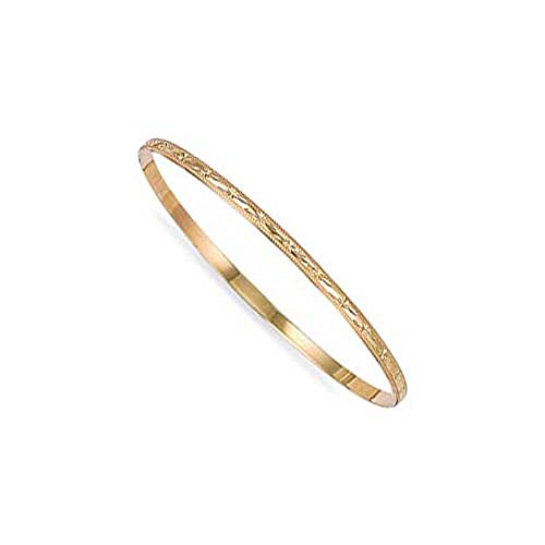 Jewelco London Ladies Solid 9ct Yellow Gold Diamond Cut D-Shape Slave 3mm Bangle Bracelet