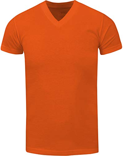 Shaka Wear Men's Cotton Shirt – Basic Heavyweight Short Sleeve V Neck Plain Premium Tee Top Tshirt Regular Big Size VNS15 Orange 4XL