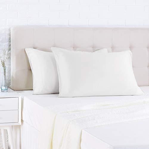 Amazon Basics - Funda de almohada de satén - 40 x 80 cm x 2, Blanco