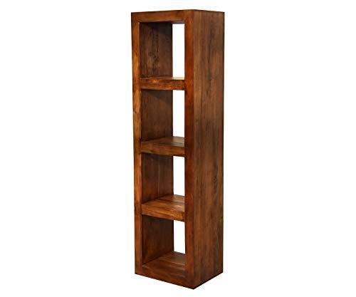 AISER Royal Massives Echt-Holz Bücher-Regal -Bitra- aus besonders schön gezeichnetem Akazien-Holz mit 4 Fächern in modernem zeitlosen Design   Höhe 158 cm Breite 44 cm