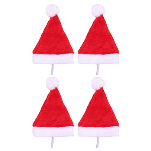 BESTOYARD 4 Pezzi Cappelli di Natale Cane Cappellini Costumi di Natale per Cucciolo di Gatti (Rosso)
