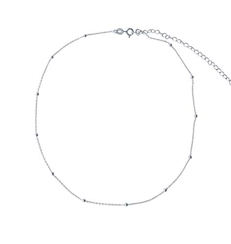 Amkaka Minimalist Sterling Silver Choker Necklace Thin Bead Ball Necklace (Silver)