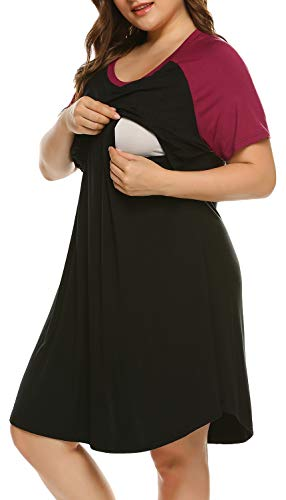 IN'VOLAND Women's Plus Size Maternity Nightgown Short Sleeve Sleepwear Maternity Nursing Nightgown (16W-24W) Black, 22W