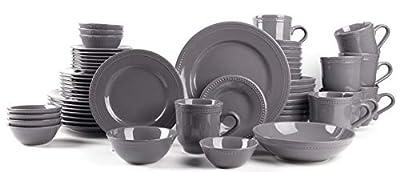 HomeVss, Pearl Dots Porcelain Dinnerware Set (56pc Set, Grey)