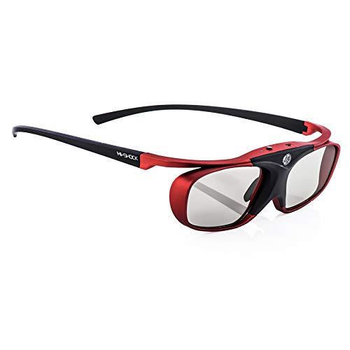 Hi-SHOCK® BT Pro 'Scarlet Heaven'   Smart actives lunettes 3D pour TV' s 4K / FullHD 3D Sony®, Samsung®, Panasonic®, Sharp®, Toshiba®, LG® Plasma, Hisense® (2012-2018*)   compatible avec SSG-3570 CR / TDG-BT500A / AN3DG35 / TY-ER3D4ME / FPT-AG02 / AG-S350 / FPS3D08   optimisent la netteté, la luminosité et le contraste   incl. accessoires + 3 ans de garantie [lunettes à obturation   120 Hz   rechargeables   32 gr.   Bluetooth   rouge métallisé]