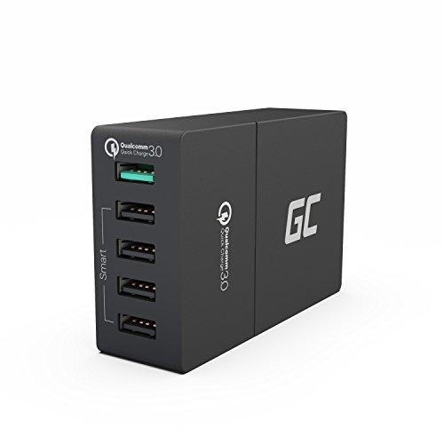 Green Cell 52W 5-Port USB Ladegerät mit Quick Charge 3.0 Schnellladung für iPhone 6 6s 7 8 X SE, iPad, Samsung Galaxy A5 S6 S7 S8 S9 Note 8 9, Huawei P8 P9 P10 P20 Lite Pro Mate 10 und Viele Mehr