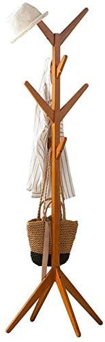 Boom Houten Kapstok, gratis Standing kapstok 8 Hooks solide basis for kleding, hoed, pakket (Color : Wood Color, Size : 175cm)
