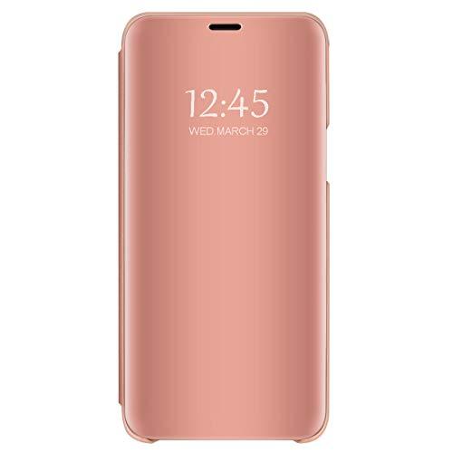 Hülle Kompatibilität Mit Galaxy S10 Plus hülle Galaxy S10e Handyhülle S-View Spiegel Smart Flip Case 360 Grad Tasche Galaxy S10 Cover Handy Shell Bumper Schutzhülle (Roségold, Galaxy S10)