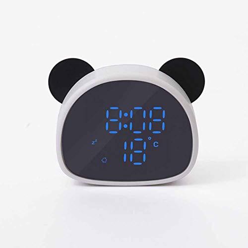 Uhr FANGQIAO SHOP Digital Wecker, Cartoon Panda Wecker, tragbarer Spiegel HD LED-Anzeige Dimmer Snooze Funktion Temperaturanzeige, Geschenk USB (Color : White)