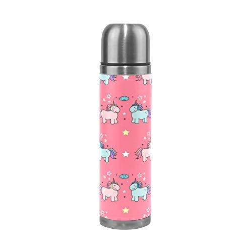 DEYYA Wannabe Ensemble de flasques à double paroi en acier inoxydable avec motif licorne 43,2 ml