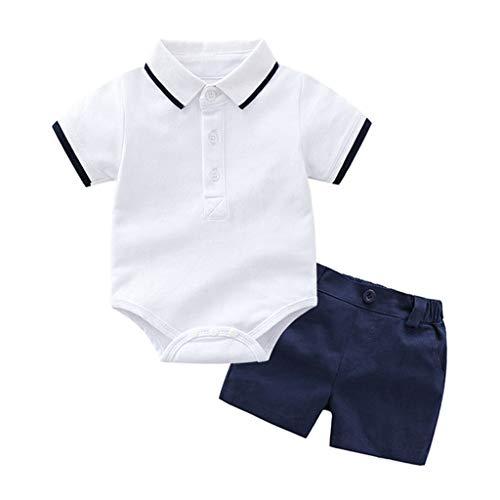 Conjuntos para Bebés Niños 2019 Primavera Verano PAOLIAN Monos Manga Cortas + Pantalone Corto Bebe Niños Recién Nacidos Bautizo Camisetas Blusas Traje Niños Bebe Boda 3 Meses-24 Meses