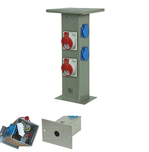 Baustromverteiler Steckdosensäule 2 x CEE16A + 2 x 230V Schuko Außensteckdose Gartensteckdose IP44