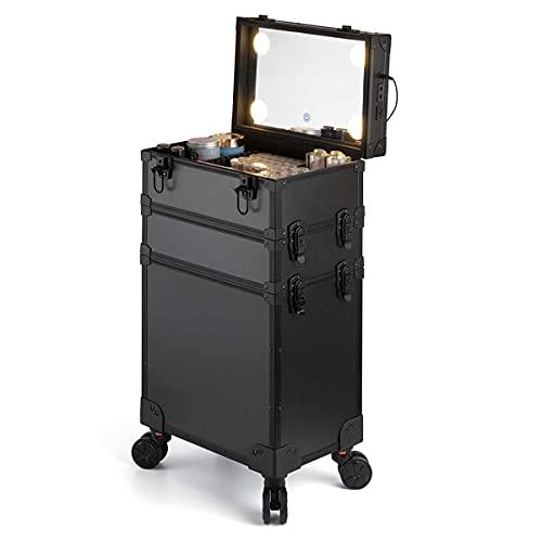 HYDL Malette Maquillage Professionnel, Valise Trolley pour Cosmétiques Noire Professionnelle Mallette de Maquillage Verrouillable avec Miroir et Lumières, Beauty Case détachable