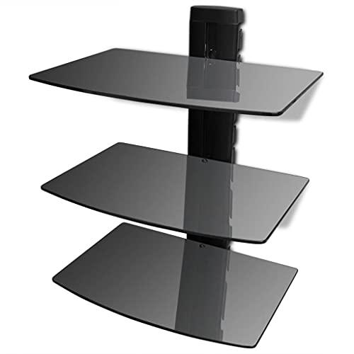 LONGMHKO Estante de Pared para aparatos DVD 3 Niveles de Vidrio Negro Capacidad máxima de Carga: 15 kg/Nivel