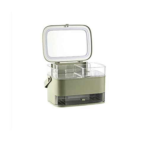 WYFDC Neue kosmetische Aufbewahrungsbox mit Spiegel Light Desktop Makeup Organizer Fall Staubsichere Schubladenart Organizer Für Kosmetika