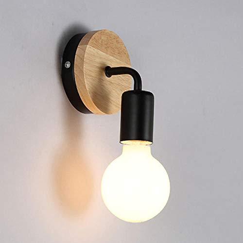 Wandlamp Moderne Nordic houten wandlamp voor thuis, vintage retro wandlamp decor Edison lamp E27 110 V 220 V zwart lichaamshout zonder stekker