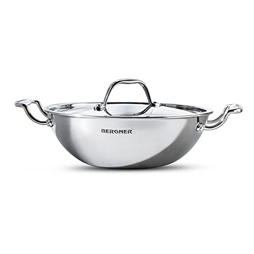 Bergner Argent Tri Ply Stainless Steel Kadhai with Stainless...
