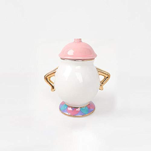Taza de té con diseño de dibujos animados de belleza y la bestia de la señora Potts Chip Tea Pot Cup un juego encantador regalo de Navidad rápido Post-White_honeypot*1