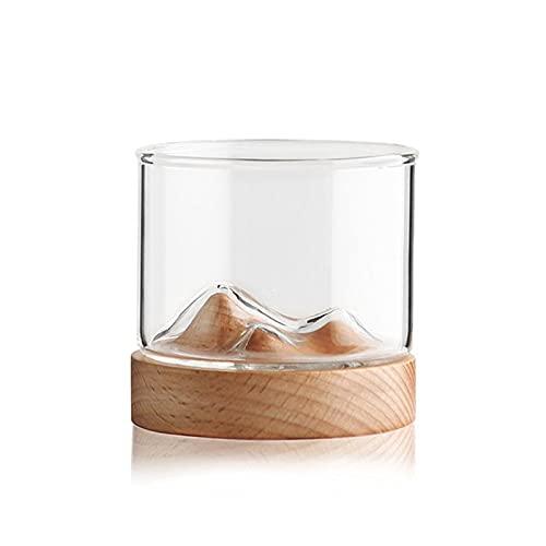 Copa De Vino De Montaña con Copas De Fondo De Madera Taza De Té del Hogar, Día De San Valentín, Cumpleaños Y Navidad (120 Ml)(Color:A)