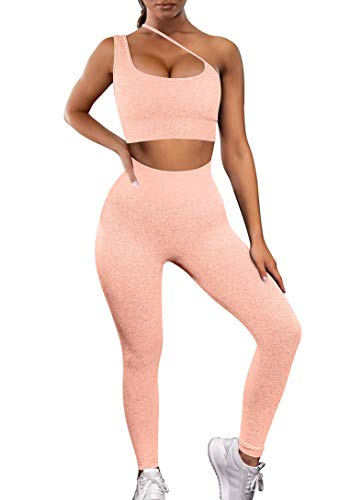 HYZ Women's Workout 2 Piece Outfit High Waist Sports Legging Stretch Yoga Crop Top Bra Sets Pink