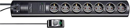 Brennenstuhl Primera-Tec Comfort Switch Plus regleta de enchufes con 7 tomas de corriente y protección sobretensión (2 m cable, interruptor de mano/pie, montable) negro