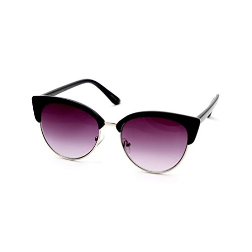 Big Buddha Mod Round Cat Eye Sunglasses, Black