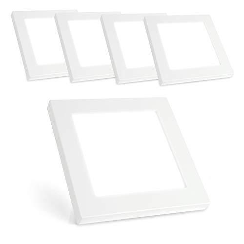 Xtend PLd2.0 Lot de 5 plafonniers LED 12 W Extra plat Carré Blanc chaud 3000 K 850 lm 180 x 180 mm Remplace 60 W 230 V