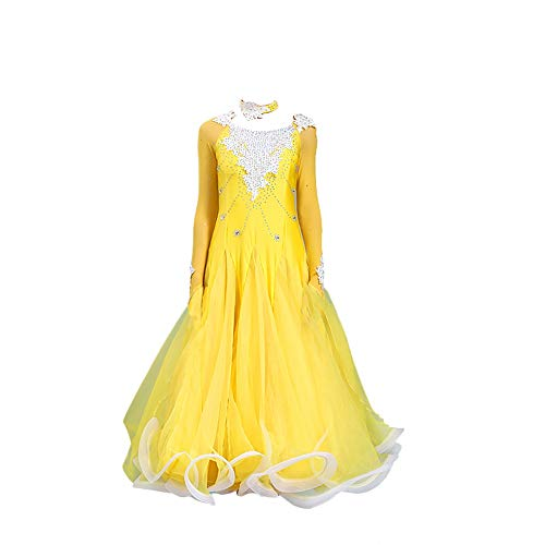 TOT BRQ jurken vrouwen nationale standaard prestaties kleding moderne jurk comfortabele en ademende Waltz rok (geel)