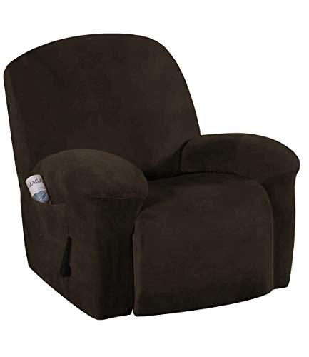E EBETA Samt-Optisch Stretchhusse für Relaxsessel Sesselbezug, Komplett Sesselschoner, Elastisch Bezug für Fernsehsessel Liege Sessel (Braun)