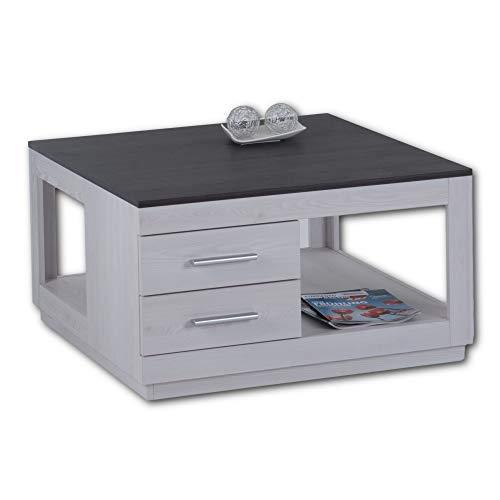 Stella Trading DAKAR Couchtisch mit zwei Schubladen in Touchwood & Sibiu Lärche Optik - geräumiger Sofatisch mit Ablage für Ihren Wohnbereich - 80 x 46 x 80 cm (B/H/T)