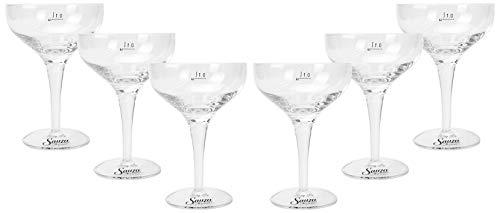 Mixcompany Sauza Glas - 6er Set Sauza Tequila Cocktailglas/Martini Glas/Margaritha Glas/Schale mit 0,1L Eichung/Eichstrich