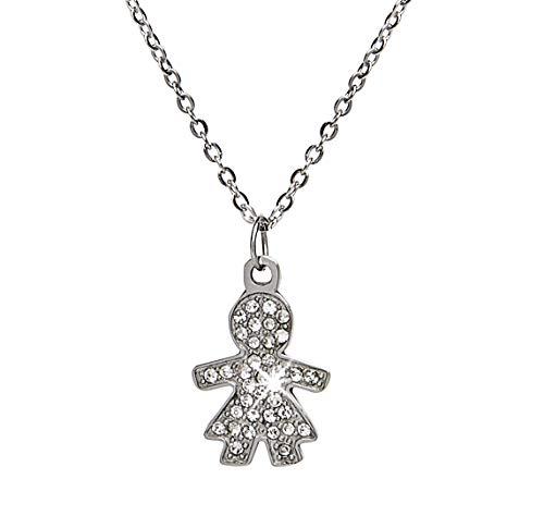 MAMIJUX Collana girocollo con ciondolo a forma di Bambina con cristalli bianchi, catenina in acciaio lunga 42cm regolabile