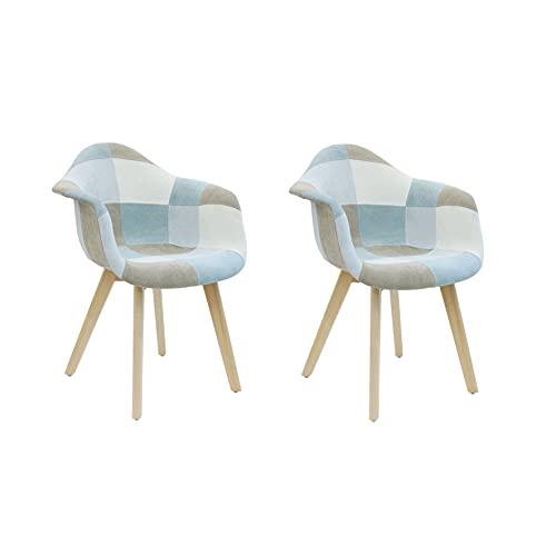Lote de 2 sillones para salón, Comedor, Multicolor, Patchwork escandinavo, Madera, Tejido Azul Claro