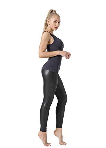 JOPHY & CO - Skinny Hose für Damen, schwarz, matt, bi-elastisch, Kunstleder, Push-Up (Artikelnummer 9853), Schwarz L