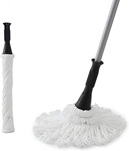 Eyliden 57.5 Inches Microfiber Twist Mop Hand Release Washing Mop Floor Cleaning Dust Mops with 2pcs Removable Washable Heads Silver