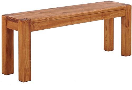Brasilmöbel Sitzbank 80 cm Rio Kanto Honig Pinie Massivholz Esszimmerbank Küchenbank Holzbank - Größe und Farbe wählbar