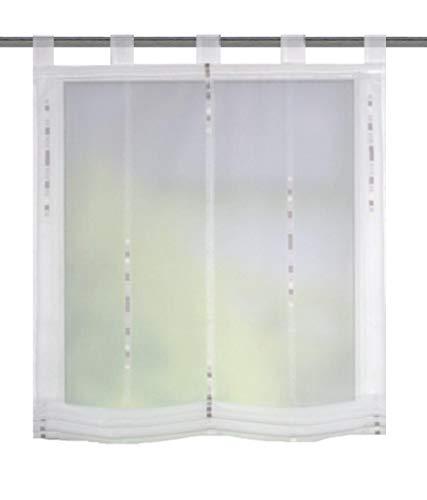 HOME WOHNIDEEN Raffrollo HALVAR, Effektvoile mit Scherli, mit Schlaufen, Farbe: Stein, Größe: (140 x 80 cm) (140 x 100 cm) (130 x 100 cm)
