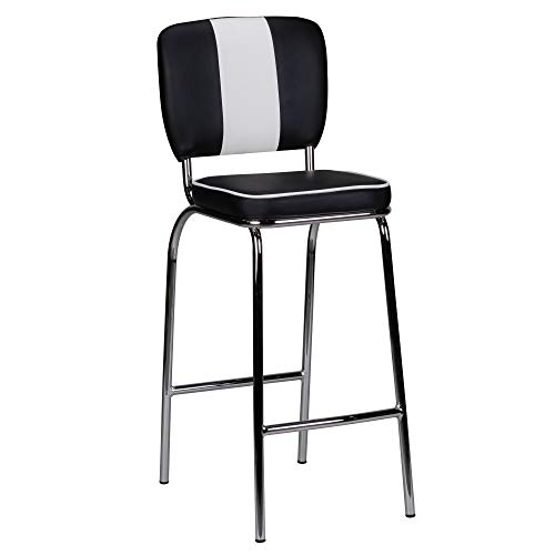 FineBuy Barhocker King American Diner 50er Jahre Retro Barstuhl | Sitzfläche gepolstert mit Rücken-Lehne | Thekenstuhl mit Fußstütze | Sitzhöhe 76 cm | Farbe: Schwarz Weiß