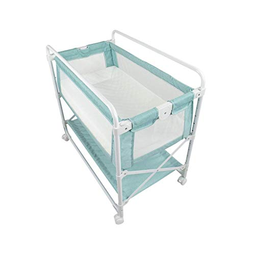 BYY Zusammenklappbarer Wickeltisch für Babywindeln mit Rädern und Aufbewahrungskörben Wickeltisch mit Rädern, Wickeltisch, Wickeltisch, Massagestation, Kinderbett