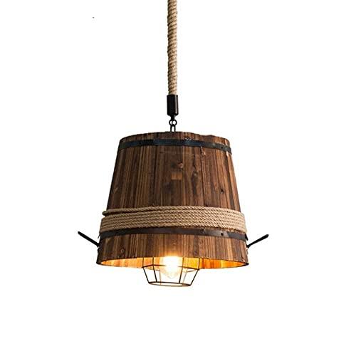 HLY Candelabro simple, candelabro de bambú de estilo industrial retro Sudeste de Asia Iluminación colgante para el hogar creativo Estilo japonés Forma de cubo Equipo de iluminación para el hogar E27