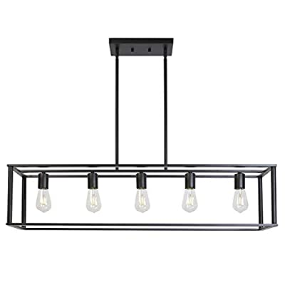 VINLUZ Farmhouse Chandeliers 5-Light Black Dining Room Lighting Linear Contemporary Metal Pendant Light Large Industrial Rustic Hanging Ceiling Light Fixtures for Kitchen Island Foyer Bar