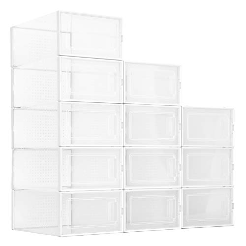 amzdeal 12 Pcs Stackable Shoe Storage Boxes - Clear Plastic Stackable Shoe Organizer Front Opening Shoe Container Box for Closets Space Saver Foldable Shoe Box Bin Fit up to US Size 10